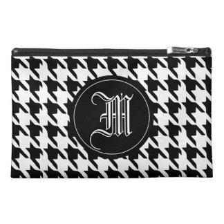 houndstooth ,name  initial monogram travel accessory bag