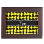 Houndstooth negro amarillo conocido personalizado cajas de recuerdos
