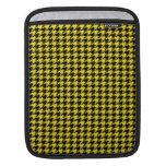 Houndstooth negro en amarillo manga de iPad