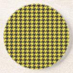 Houndstooth negro en amarillo posavasos manualidades