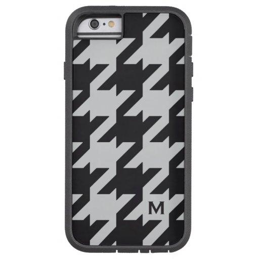 Houndstooth negro gris moderno intrépido con el funda de iPhone 6 tough xtreme