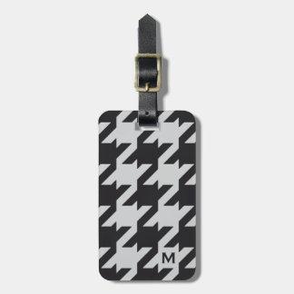 Houndstooth negro gris moderno intrépido con el mo etiqueta para maleta