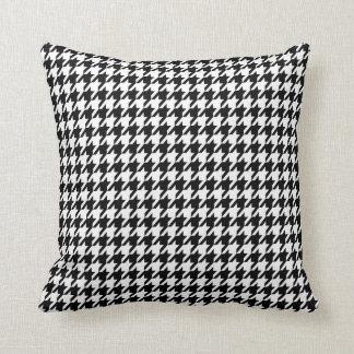 Houndstooth negro almohada