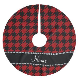 Houndstooth negro rojo conocido de Personalzied Falda Para Arbol De Navidad De Poliéster