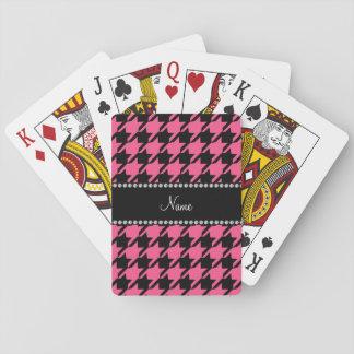 Houndstooth negro rosado conocido personalizado cartas de juego