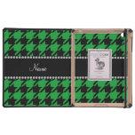 Houndstooth negro verde conocido personalizado iPad funda