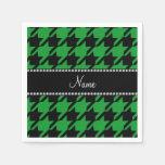 Houndstooth negro verde conocido personalizado servilleta desechable