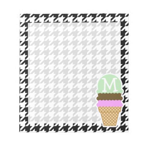 Houndstooth negro y blanco; Cono de helado Blocs