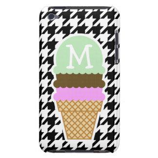 Houndstooth negro y blanco Cono de helado iPod Case-Mate Fundas