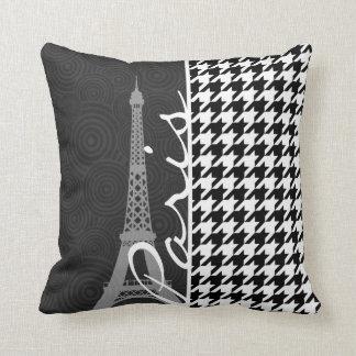 Houndstooth negro y blanco; París Cojin