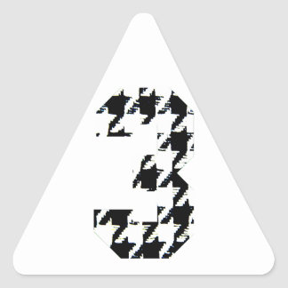 Houndstooth Number Three Triangle Sticker