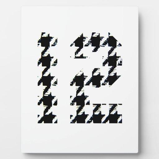 Houndstooth número doce placas de madera