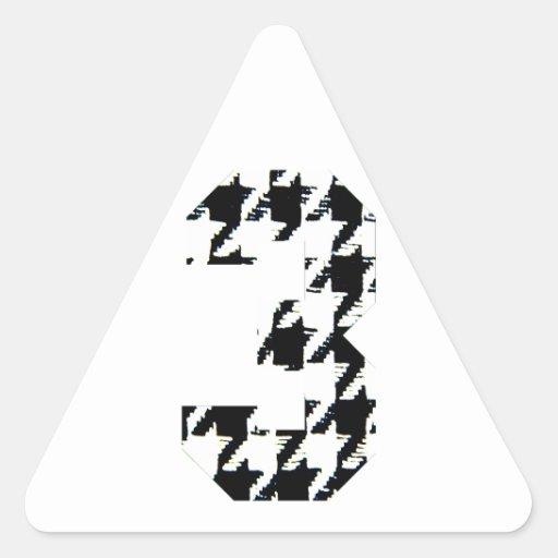 Houndstooth número tres pegatina triangular