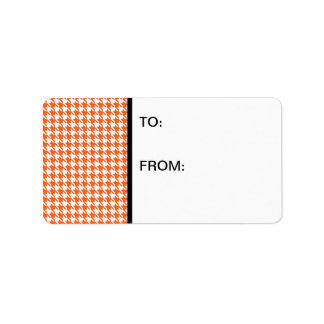 Houndstooth Orange and White Label