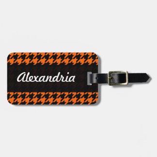 Houndstooth Orange Black Decorative Art Pattern Luggage Tags
