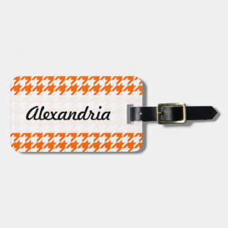 Houndstooth Orange White Decorative Art Pattern Tags For Luggage