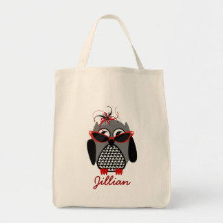 Houndstooth Owl Personalized Grocery Tote Bags