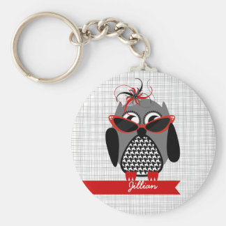 Houndstooth Owl With Sunglasses Keychain