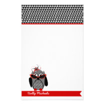 Houndstooth Owl With Sunglasses Stationery