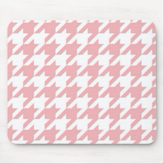 Houndstooth pastel pink pattern mouse pad