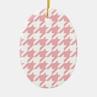 Houndstooth pastel pink pattern ornaments