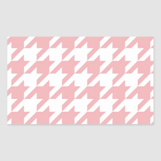 Houndstooth pastel pink pattern rectangular sticker
