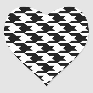 Houndstooth Pattern 1 Black and White Heart Sticker