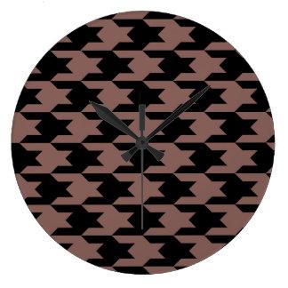 Houndstooth Pattern 1 Cognac Wall Clock