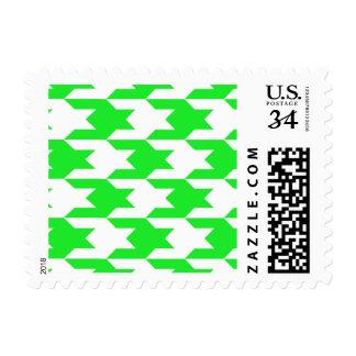 Houndstooth Pattern 1 Green Postage Stamp