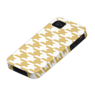 Houndstooth Pattern 1 Misted Yellow iPhone 4 Cases