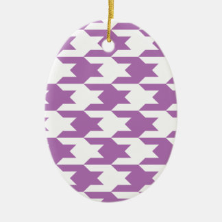 Houndstooth Pattern 1 Radiant Orchid Christmas Ornaments