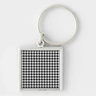 Houndstooth pattern - Black and white Keychain