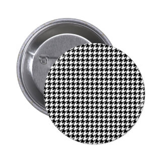 Houndstooth pattern - Black and white Pinback Button