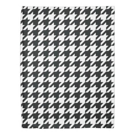 Houndstooth Pattern Black White Duvet Cover