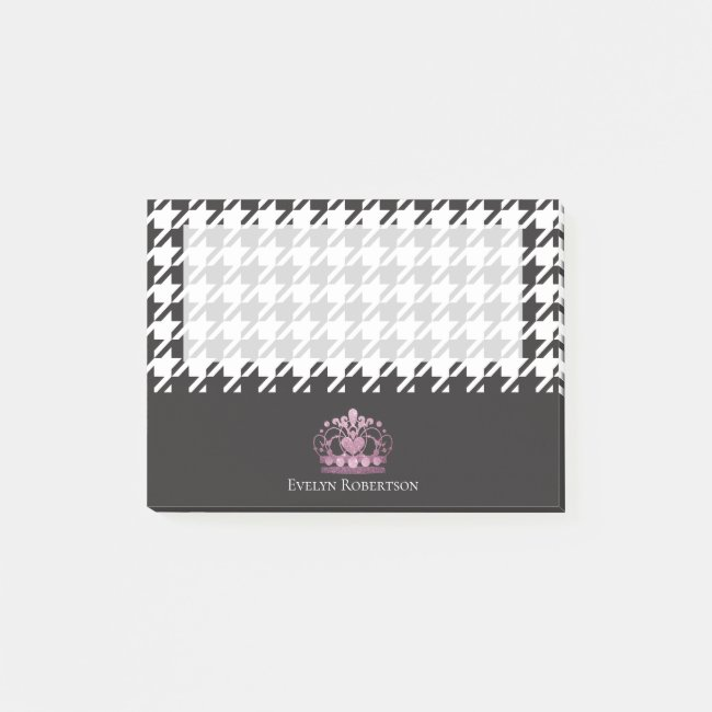 Houndstooth Pattern Faux Glitter Pink Tiara Girly