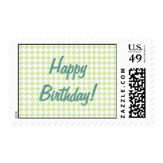 Houndstooth pattern - girly green postage