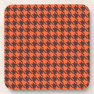 Houndstooth Pattern in Brown and Orange Drink Coaster
