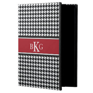 Houndstooth Pattern & Monogram | Black White Red iPad Air Case