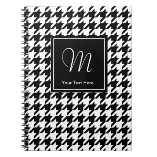 Houndstooth pattern notebook with custom monogram