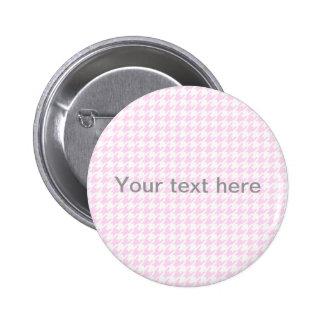 Houndstooth pattern - pastel pink pinback button