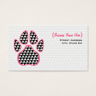 Houndstooth Paw Print Business Card