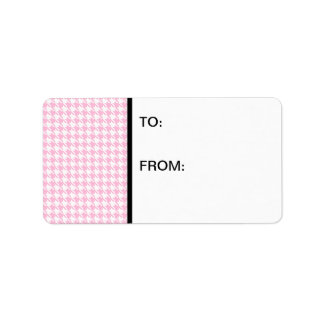 Houndstooth Pink and White Label