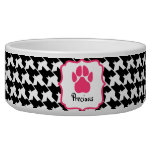 Houndstooth & Pink Pawprint Pet Bowl Dog Water Bowls