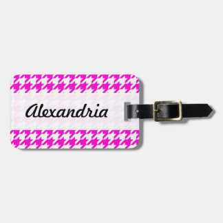 Houndstooth Pink White Decorative Art Pattern Travel Bag Tags