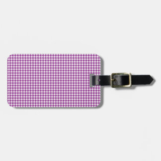 Houndstooth Plum and White Bag Tag