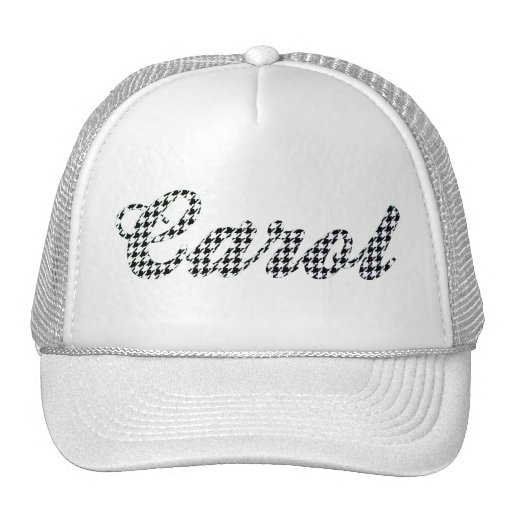 Houndstooth Print Name Carol Mesh Hat