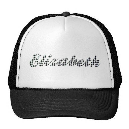 Houndstooth Print Name Elizabeth Trucker Hats