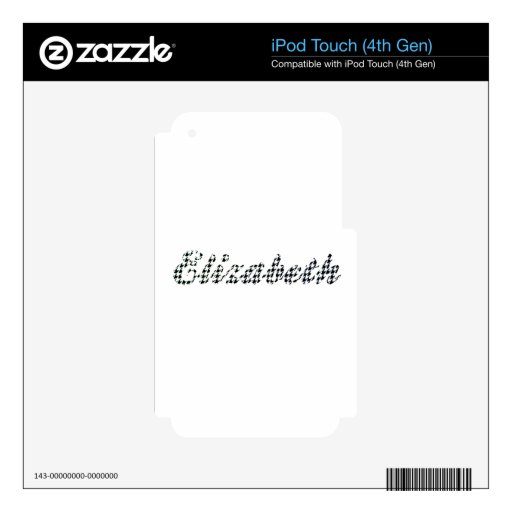 Houndstooth Print Name Elizabeth Skins For iPod Touch 4G