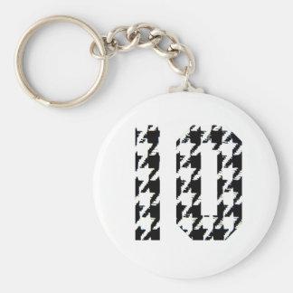 Houndstooth Print Number 10 Basic Round Button Keychain