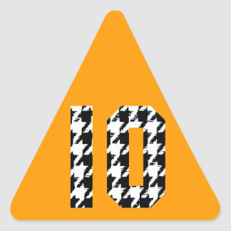 Houndstooth Print Number 10 Triangle Sticker